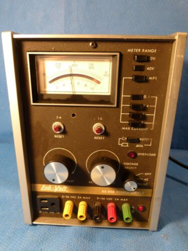 LAB VOLT POWER SUPPLY MODEL AA948 AC/DC 0 TO 36 VOLTS