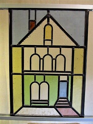 Newly crafted TRADITIONAL Stained Glass Window Panel PERIOD HOUSE 252mm x 369mm