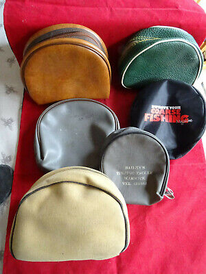 COLLECTION OF RETRO VINTAGE FISHING REEL CASES, SOME WITH RETAILERS NAMES