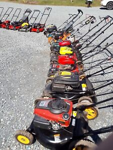 Serviced lawn mowers