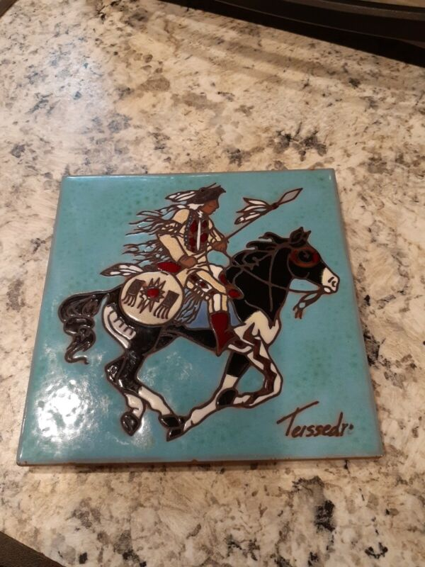 Teissedre Designs, INC. Native American Art Tile 6 X 6 Tile Handcrafted Vibrant!