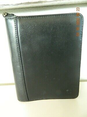 Franklin Covey Classic Smooth Black Top Grain Leather Full Zip 6 Ring Binder