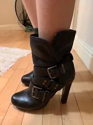 DKNY NY Black Leather Heel Slouch Midi Boots With Belt Design Sz 6