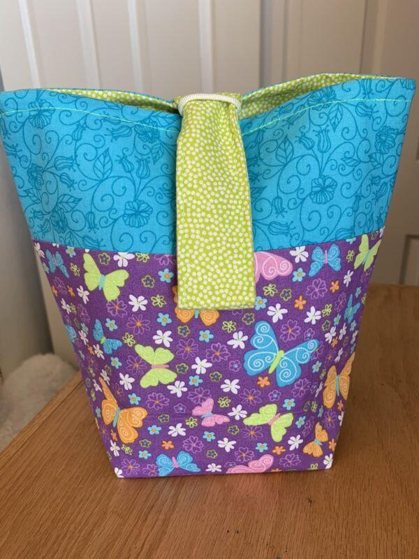 Knitting Tote Bag, Crochet Yarn Project, Portable Craft Bin, Knit As You Go Bag