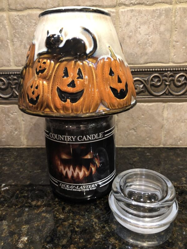 YANKEE CANDLE HALLOWEEN PUMPKIN & BLACK CAT CANDLE SHADE TOPPER & COUNTRY CANDLE