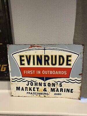 Vintage Evinrude Outboard Boat Motor Advertising Tin Sign Frazeysburg,Ohio