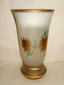 Grand Vase Opaline Blanc Decor Feuillage Dore Ancien Napoleon Iii Ebay