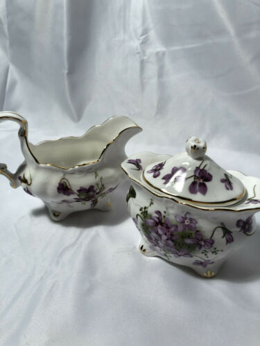 Hammersley England Victorian Violets Fine Bone China Cream & Sugar