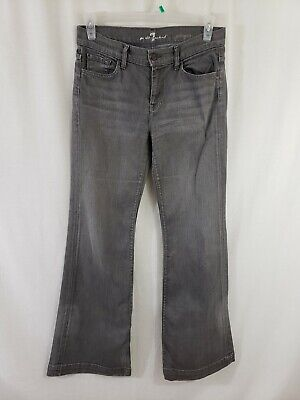 7 for All Mankind Ginger Womens Denim Gray Jeans Size 30 x 31 Wide Leg Flare 7 For All Mankind Ginger