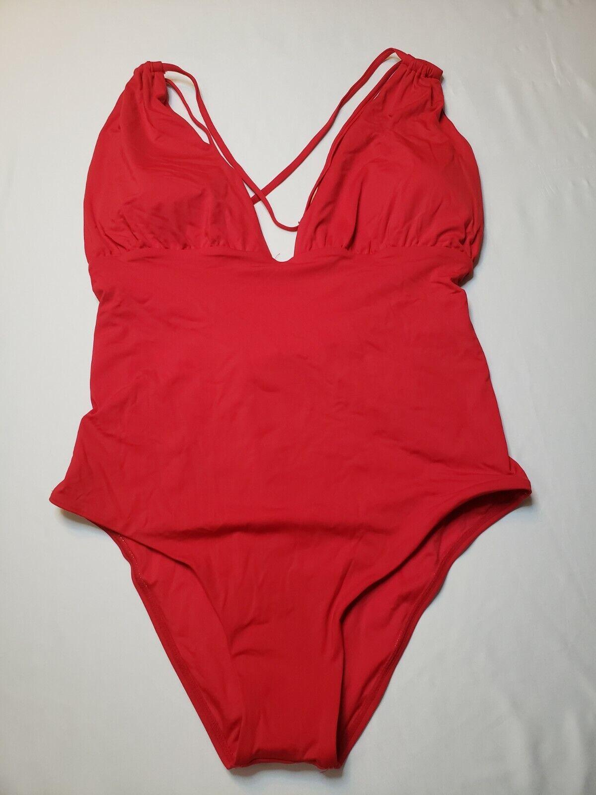 Sunn Lab Swim Cherry Red Medium Coverage 1 Piece Swim Suit Size L Gorgeous - $13.99