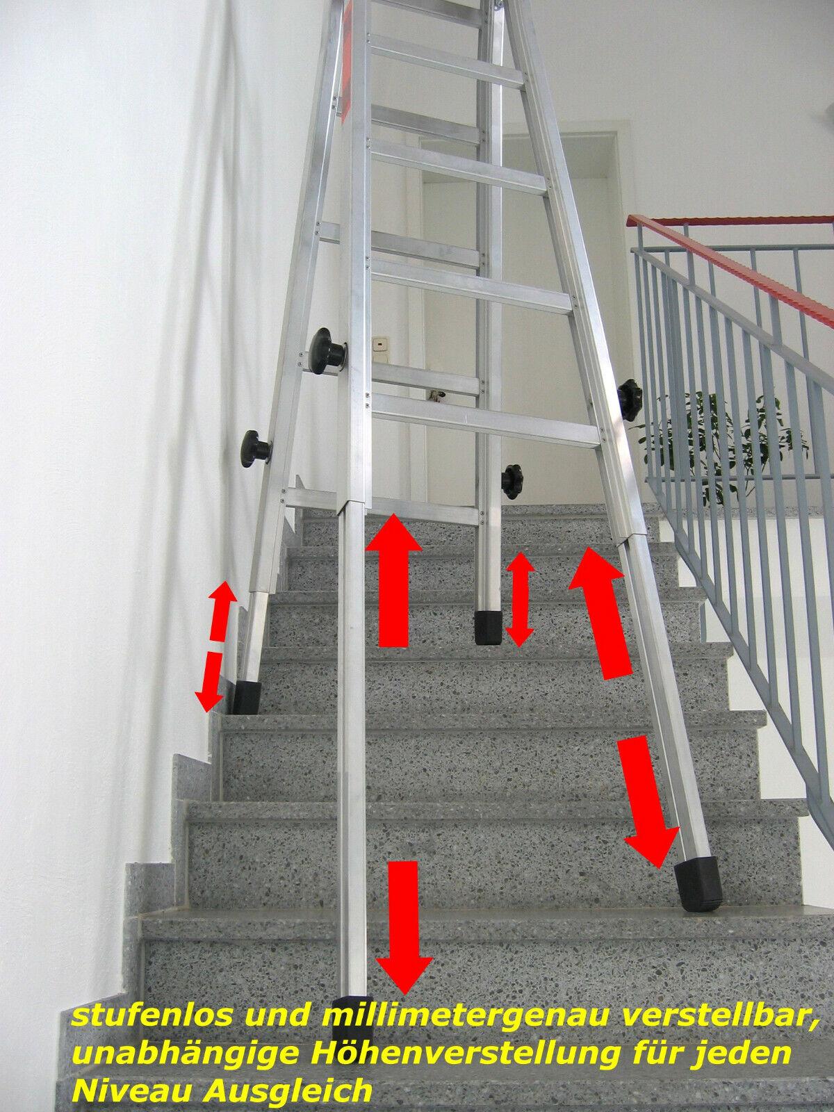 Leiter für Treppen, Teleskopleitern Treppenleiter Treppenstehleiter 2x4 Stufen