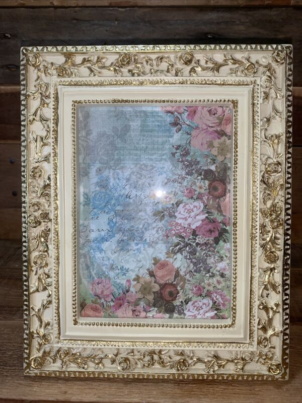 """Vintage Ivory & Gold Ornately Embossed Roses 10"""" Picture Frame Fits 5"""" by 7"""""""