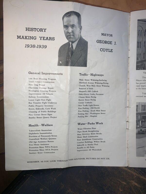 New Britain Connecticut Mayor George Coyle, Brochure Of Accomplishments 1938