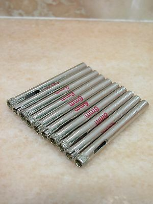 "10 pcs 6mm ( 1/4"" inch ) THK Diamond coated core drill drills bit hole saw tile"