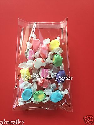 100   Clear Cellophane Resealable Cello Small Treat Candy Bags Wedding Cookie
