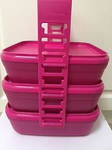 Tupperware square round stack carry all pink rare Mount Waverley Monash Area Preview