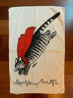 B. Kliban Super Cat in Red Cape Flying Over Cityscape Hand Towel Vintage