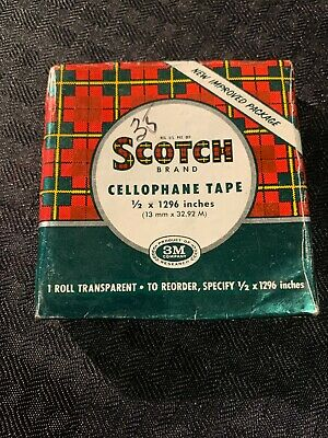 Vintage Scotch Brand Cellophane Tape 1 Roll Transparent New Sealed Flannel Print