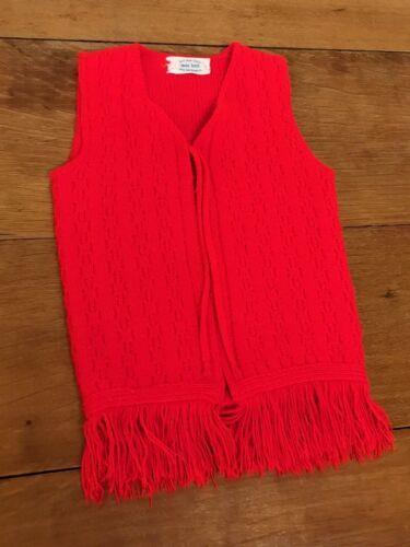Vintage Red Sweater Vest Open MOD Fringe Hippy Orlon Acrylic 1960s Toddler 4 / 5