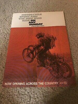 "Vintage 1971 STEVE MCQUEEN ""ON ANY SUNDAY"" MOVIE Poster Print Ad MOTORCYCLE RARE"