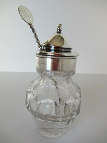Antique condiment jar with spoon (non-matching)