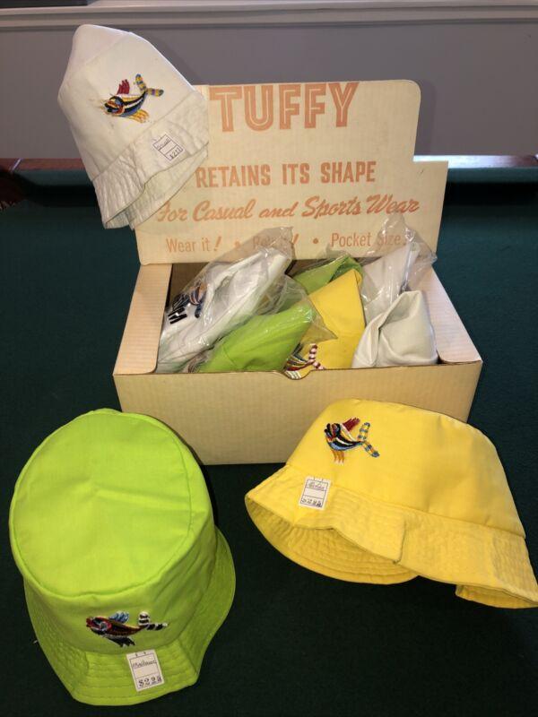 Vintage Tuffy Brand Bucket Caps In Original Box Lot Of 10 Sz S & M NOS 70s Retro