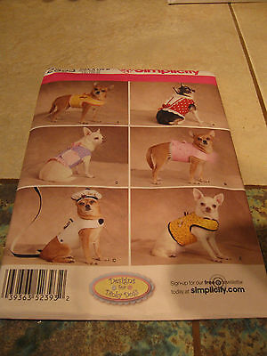 Simplicity Sewing Pattern 2393 Dog clothes Jacket Leach Hat Beret Coat XXS-M