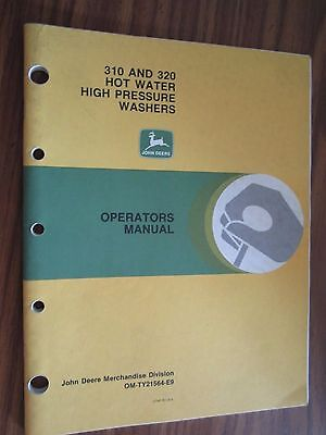 John Deere 310 320 Hot Water High Pressure Washer Operators Manual