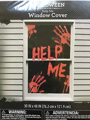 Halloween Window Cover Help Me Creepy Murder Scene Setter Decoration CSI