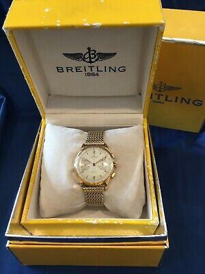 BREITLING CADETTE MENS WRIST WATCH 17 JEWEL CHRONOGRAPH 18K SOLID GOLD