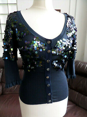 Pretty KAREN MILLEN Silk Sequin Navy/Blue Cardigan/Top Size 2/10