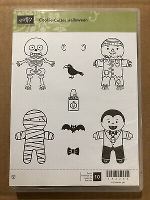 Stampin Up Cookie-Cutter HALLOWEEN Cling Stamps Mummy Skeleton Dracula Scarecrow
