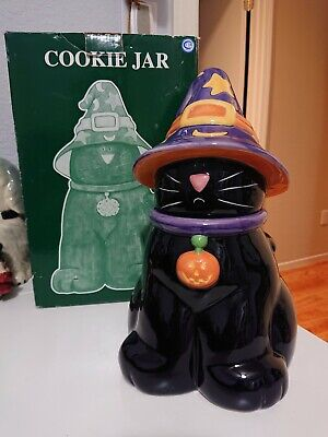 Harry And David Halloween Black Cat Witch Hat Cookie Jar