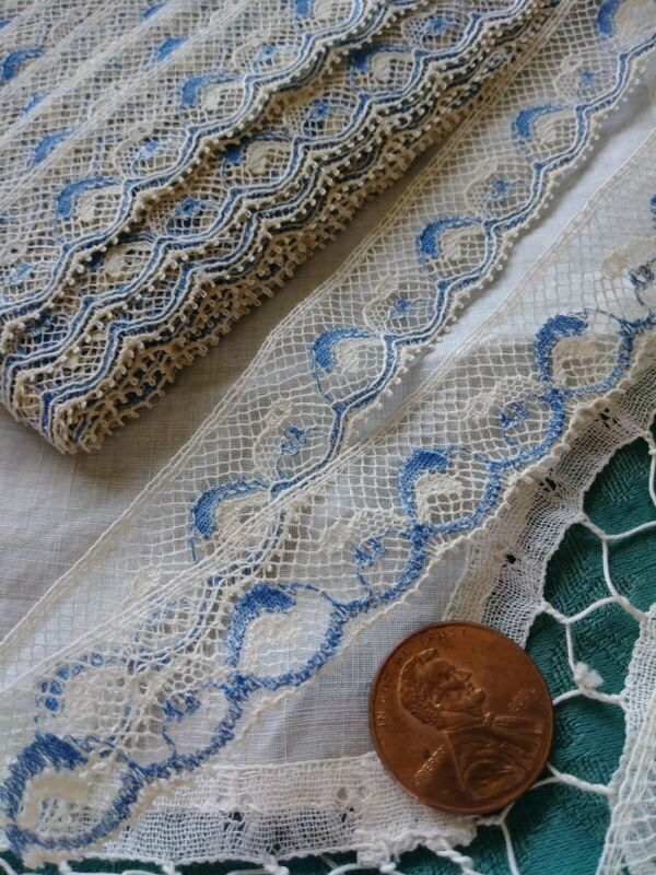 "Blue and cream Antique Val  LACE antique French vintage  almost 4 yds +10"" dolls"