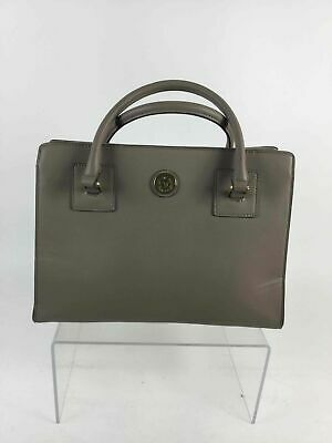 Anne Klein Gray Pebbled Faux Leather Open Top Tote Bag Purse