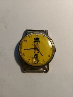 Vintage Mr. Peanut Swiss Made Watch Wristwatch Wind w Date on Bottom