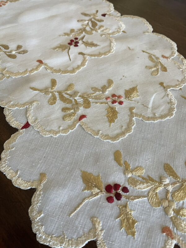 Lot Of 3 Antique Royal Society Silk Embroidered Christmas Holly Berries Doilies
