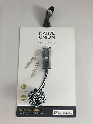 Native Union Lightning to USB-A Key Cable Ultra Strength Charging Sync Zebra