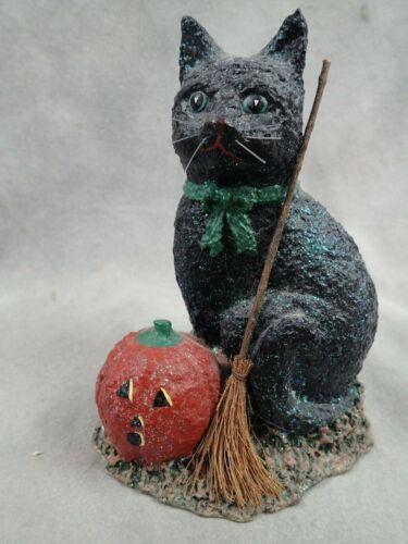 Halloween Enesco Broomsnickle Black Cat with Broom & Jack O