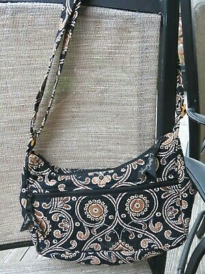 Vera Bradley crossbody bag purse Caffe Latte brown black paisley floral white