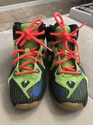 8bbb6b87bb92f Nike Lebron James Biomech Athletic Basketbal Black Green High Shoes Sz 1  Youth