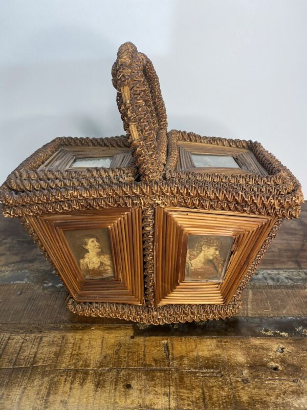 Antique Victorian Folk Art Wicker Woven Straw Sewing Basket Box Glass Inserts