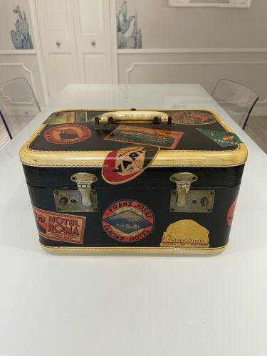 Vintage Makeup Trunk Case Travel With Stickers Around The World Antique Luggage - $14.00