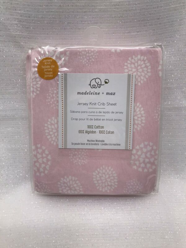 Madeleine + Max Baby Girl Jersey Knit Crib Sheet Pink White 100% Cotton NEW
