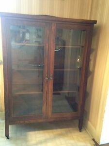 Antique China cupboard, buffet and table solid oak