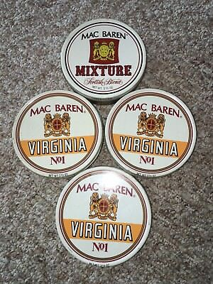 VINTAGE MAC BAREN'S TOBACCO TINS (4) FROM THE 1980'S OR EARLIER for sale  Benton