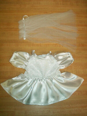Modern First Communion Dresses (FIRST COMMUNION SHORT DRESS WHITE SATIN W/ LACE +VEIL for 16