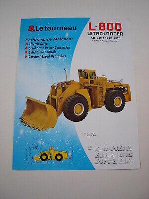 Marathon Letourneau L-800 Letro-loader Front-end Wheel Loader Brochure Mint 75