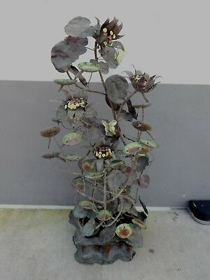 1970'S WHIMSICAL COPPER FLOWER POWER CASCADING LILY PAD FOUNTAIN