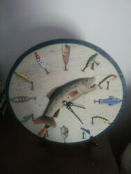 """Wooden Fishing Clock Lure Trout Tackle Wall Hanging Cabin Lodge Decor Lake 13"""""""